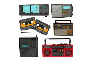 Cartoon illustrations of old music cassette recorders, players and radios