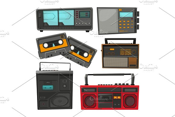 Cartoon Illustrations Of Old Music Cassette Recorders Players And Radios
