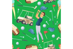 Seamless pattern with sport illustrations at golf theme