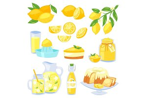 Lemon food vector lemony yellow citrus fruit and fresh lemonade or natural juice illustration set of lemon cake with jam and citric syrup isolated on white background