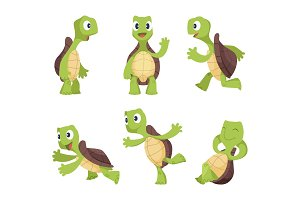 Funny cartoon characters of turtles in various poses