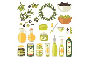 Olive oil vector bottle with virgin olivaceous ingredients for vegetarian food illustration set of olivebranch or olivet for wreath isolated on white background