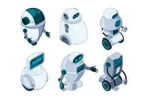 Robots assistant. Colored isometric pictures