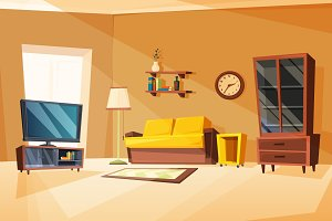 Vector illustrations of living room interior with different furniture items