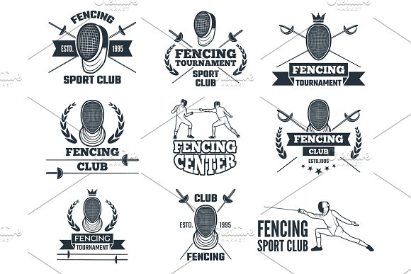 Labels Set For Fencing Sport Monochrome Pictures Of Rapiers Sword Mask And Other Equipment