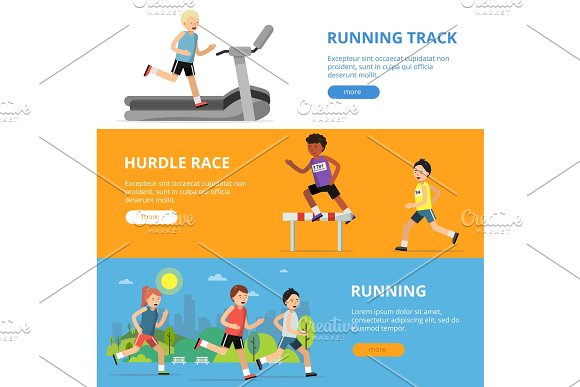 Horizontal Banners With Different Style Running Peoples