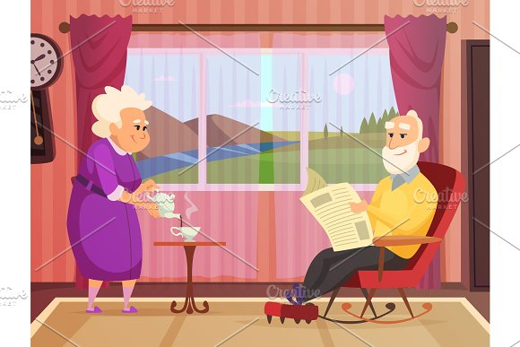 Vector Background Illustrations Of Elderly Couple Making Home Care