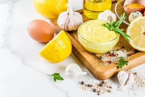 Homemade mayonnaise with ingredients