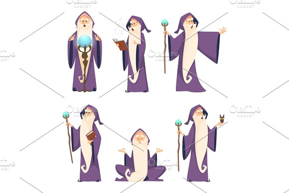 Wizard Male Cartoon Mascot In Action Poses