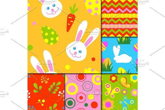 Easter Rabbit Character Bunny Seamless Pattern Background Vector Cute Happy Animal Illustration Decorative Ornament Nature Flora Decoration.