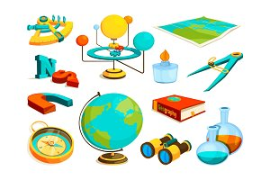 Vector colored pictures of science and geography symbols