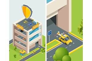 Background isometric illustration of multi level parking with various cars