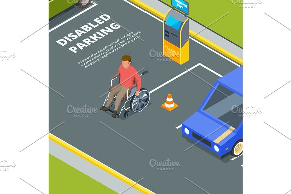 Entrance For Urban Parking For Disabled Peoples