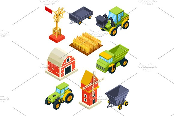 Architectural Objects Of Farm Or Village Isometric Agricultural Machines