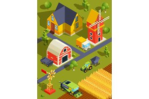 Isometric landscape of village or farm with various buildings and agricultural machines
