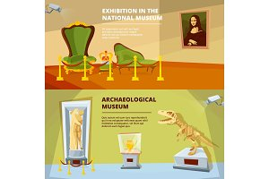 Museum exhibition. Vector banners set