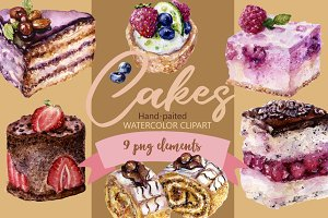 Watercolor Cakes Clipart