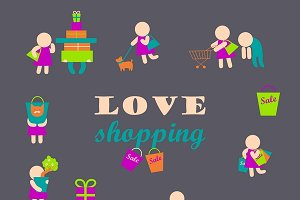 Set of shopping people icons
