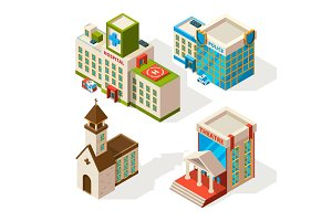 Isometric pictures of municipal buildings. Vector 3d architecture isolate on white