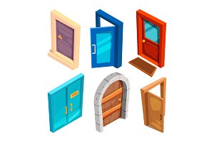 Various isometric pictures of cartoon doors