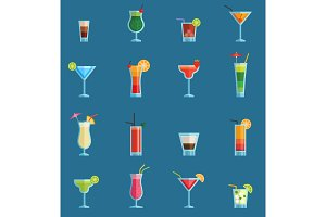 Alcoholic cocktails drinks vector fruit cold cosmopolitan, b-52, mohito, vodka freshness alcohol collection and party sweet tequila night club recipes illustration isolated