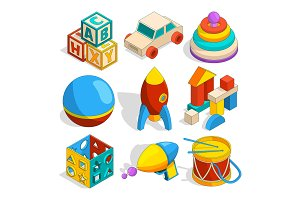 Isometric illustrations of various childrens toys
