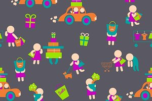 Shopping people icons