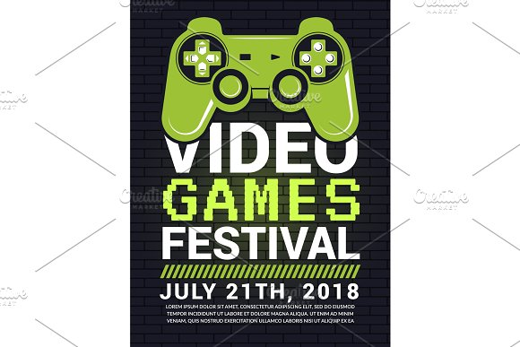 Poster Of Video Game Festival Cyber Sport Concept With Gamepad Picture