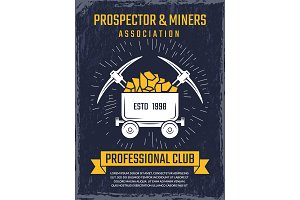 Poster design template of mineral and gold mining theme. Vector emblems