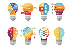 Infographic concepts with shape of lighting bulb. Visualization of various options or processes