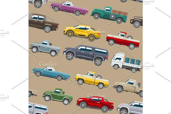 Pickup Car Vector Auto Delivery Transport Pick Up Offroad Automobile Vehicle Or Truck And Mockup Isolated Citycar On Seamless Pattern Background