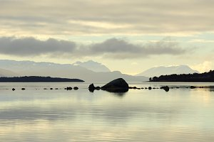 Tranquil seascape of a fjord