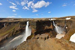 Iceland haifoss two waterfalls