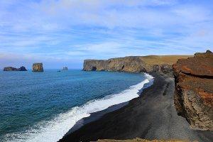 Beautiful black lava beach