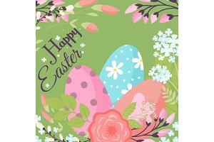 Easter background design vector holiday celebration party wallpaper greeting colorful egg fabric textile illustration.