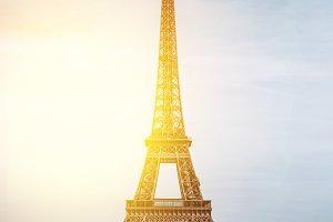 Vertical View on Eiffel Tower, Paris, France.