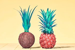 Tropical Pineapple and Coconut.Bright Summer Color