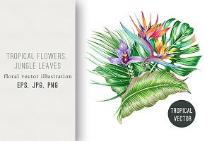 Tropical flowers summer illustration