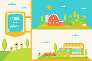 Down on the Farm Vector Set.