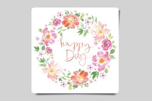 Set of watercolor greeting cards
