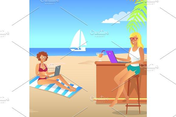 Summer Landscape Colorful Vector Illustration