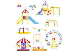 Attractions from Children Playground Illustrations