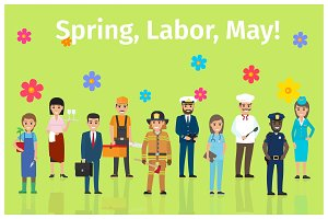 Spring, Labor, May with Ten Occupations on Green