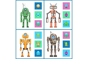 Robot Set Images Collection Vector Illustration