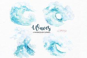 Wave clipart. Watercolor clipart
