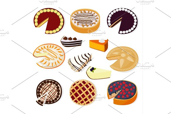 Pie Cakes Vector Fresh Tasty Dessert Sweet Pastry Berry Pie Isolated On White Background Gourmet Homemade Delicious Cream Traditional Bakery Cakes And Cookies Slices