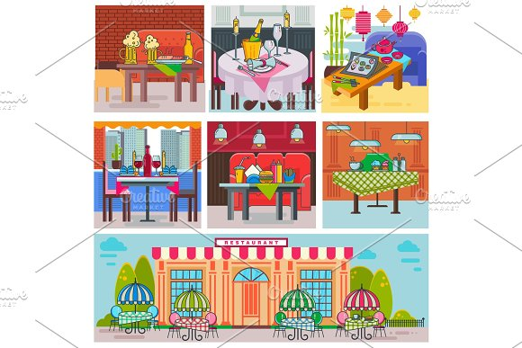 Restaurant Interior Vector Cafe Building And Decor Dining Furniture Table And Chair For Romantic Lunch Dinner In Cafeteria Club Bar Or Pub Set Illustration