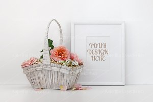 Frame mockup with a basket of roses