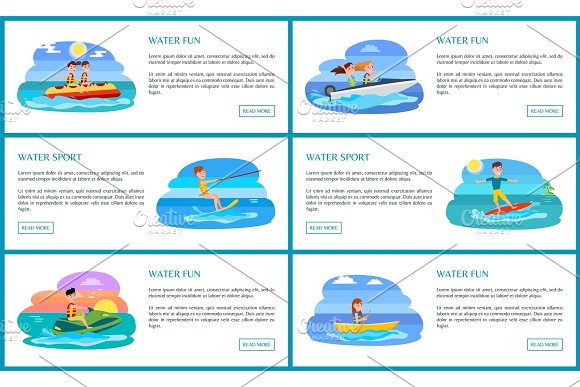 Water Fun And Sport Collection Vector Illustration