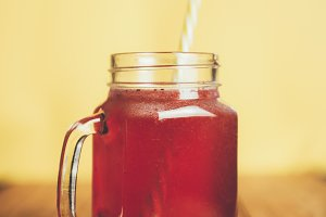 Red lemonade with raspberry